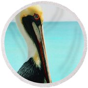 Pelican Profile And Water Round Beach Towel