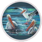 Round Beach Towel featuring the pastel Pelican Profile by Peter Suhocke
