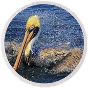 Showering Pelican Round Beach Towel
