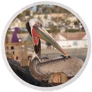 Pelican Sitting On Pier  Round Beach Towel