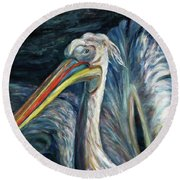 Round Beach Towel featuring the painting Pelican by Xueling Zou