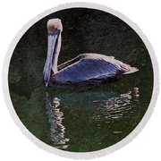 Pelican Zen Round Beach Towel by Suzanne Stout