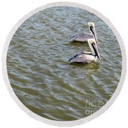 Pelicans In Florida Round Beach Towel by Oksana Semenchenko