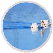 Pelicans On The Bay Round Beach Towel