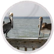 Pelicans On The Pier At Fort Myers Beach In Florida Round Beach Towel