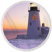 Pemaquid Point Lighthouse Christmas Snow Wreath Maine Round Beach Towel by Keith Webber Jr