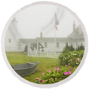 Pemaquid Point Lighthouse In Fog Maine Prints Round Beach Towel by Keith Webber Jr