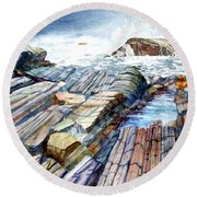 Pemaquid Rocks Round Beach Towel