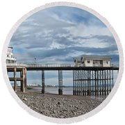 Penarth Pier Panorama 1 Round Beach Towel by Steve Purnell