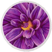 Pencil Dahlia Round Beach Towel