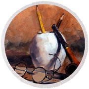 Pencils And Pipe Round Beach Towel