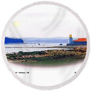 Pendlebury Light At St. Andrews Harbour Round Beach Towel