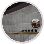 Round Beach Towel featuring the photograph Pendulum Sculpture by Patricia Babbitt