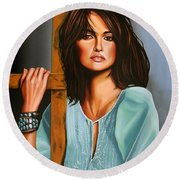 Penelope Cruz Round Beach Towel
