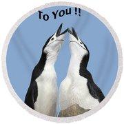 Penguin Birthday Card Round Beach Towel