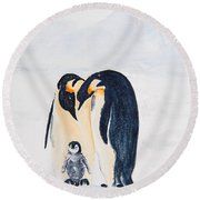 Penguin Family Round Beach Towel