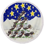 Penguin Formation Round Beach Towel