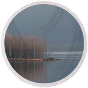 Peninsula Of Trees Round Beach Towel by Leone Lund