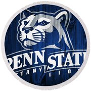 Penn State Barn Door Round Beach Towel by Dan Sproul