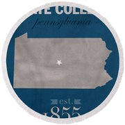 Penn State University Nittany Lions State College Pa College Town State Map Poster Series No 088 Round Beach Towel