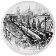 Pennell Submarines, 1917 Round Beach Towel