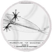 Penningtons Airship, 1838 Round Beach Towel