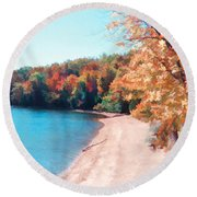 Pennsylvania Autumn 001 Round Beach Towel