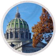 Pennsylvania Capitol Building Round Beach Towel