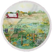 Pennsylvania Pasture Round Beach Towel