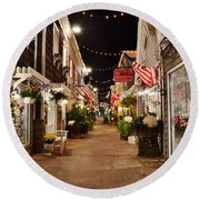 Penny Lane At Night - Rehoboth Beach Delaware Round Beach Towel