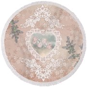 Penny Postcard Passionate Round Beach Towel