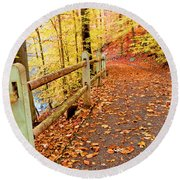 Pennypack Trail Philadelphia Fall Round Beach Towel