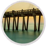 Pensacola Beach Fishing Pier Round Beach Towel