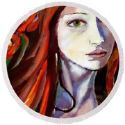 Round Beach Towel featuring the painting Pensive Lady by Helena Wierzbicki