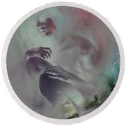 Round Beach Towel featuring the drawing Pensive With Texture 2 by Paul Davenport