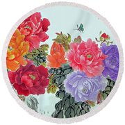 Round Beach Towel featuring the photograph Peonies And Birds by Yufeng Wang