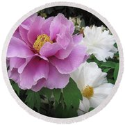 Peonies In White And Lavender Round Beach Towel by Dora Sofia Caputo Photographic Art and Design