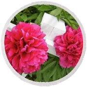 Round Beach Towel featuring the photograph Peonies Resting On White Fence by Barbara Griffin