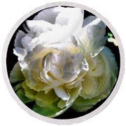 Peony In Morning Sun Round Beach Towel by Michelle Calkins