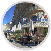 People At Sidewalk Cafe, Marseille Round Beach Towel