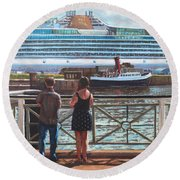 People At Southampton Eastern Docks Viewing Ship Round Beach Towel