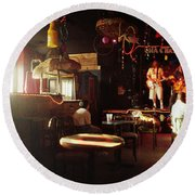 People In A Restaurant, Cha Cha Lounge Round Beach Towel