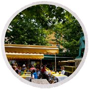 People In A Restaurant, Place Du Forum Round Beach Towel