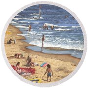 people on Bournemouth beach Blue Sea Round Beach Towel