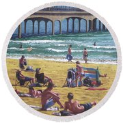 people on Bournemouth beach Boys looking Round Beach Towel