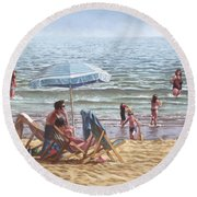 People On Bournemouth Beach Parasol Round Beach Towel