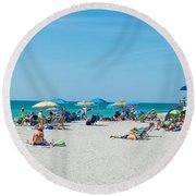 People On The Beach, Venice Beach, Gulf Round Beach Towel by Panoramic Images