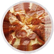 Pepperoni Pizza 25 Pyramid Round Beach Towel