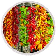 Round Beach Towel featuring the photograph Peppers For Sale by Mike Ste Marie