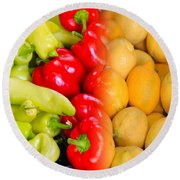 Peppers To Pucker Round Beach Towel